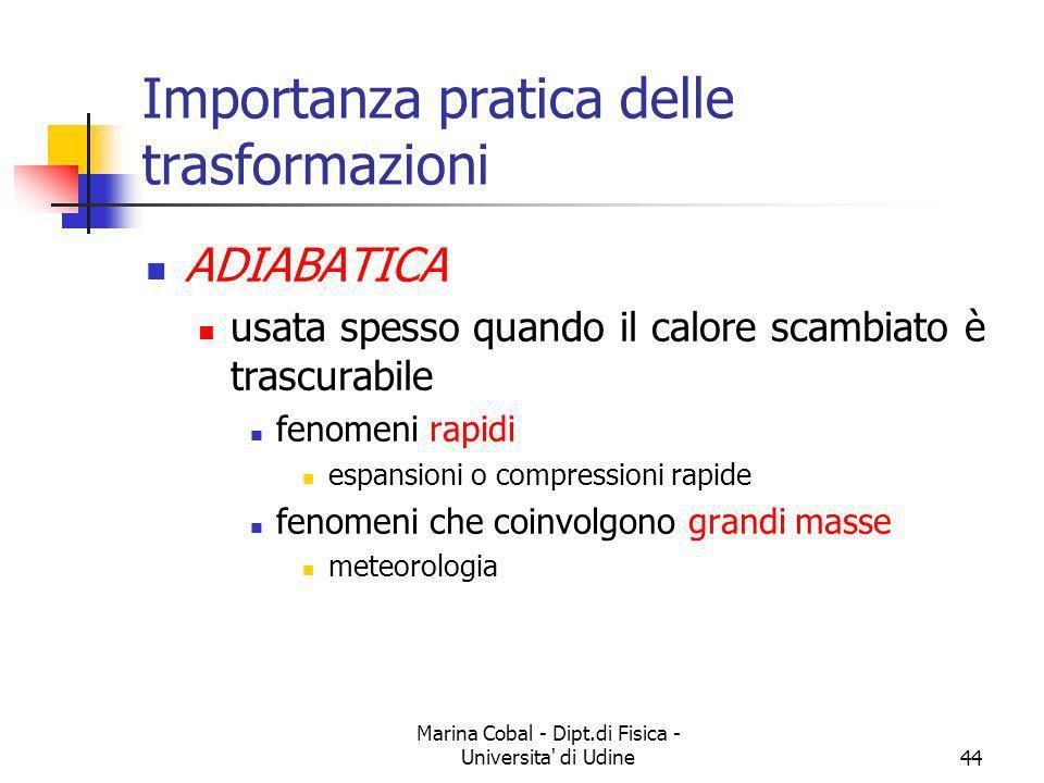 Marina Cobal - Dipt.di Fisica - Universita' di Udine44 Importanza pratica delle trasformazioni ADIABATICA usata spesso quando il calore scambiato è tr
