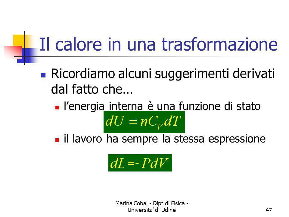 Marina Cobal - Dipt.di Fisica - Universita' di Udine47 Il calore in una trasformazione Ricordiamo alcuni suggerimenti derivati dal fatto che… lenergia