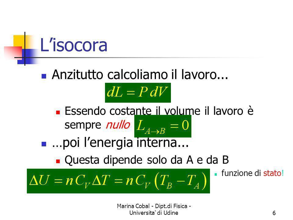 Marina Cobal - Dipt.di Fisica - Universita' di Udine6 Lisocora Anzitutto calcoliamo il lavoro... Essendo costante il volume il lavoro è sempre nullo …