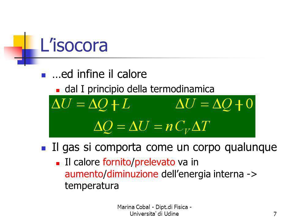 Marina Cobal - Dipt.di Fisica - Universita' di Udine7 Lisocora …ed infine il calore dal I principio della termodinamica Il gas si comporta come un cor