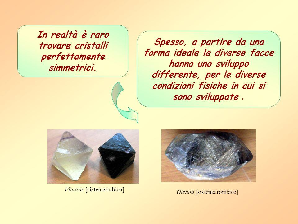 Olivina [sistema rombico] Fluorite [sistema cubico] In realtà è raro trovare cristalli perfettamente simmetrici. Spesso, a partire da una forma ideale