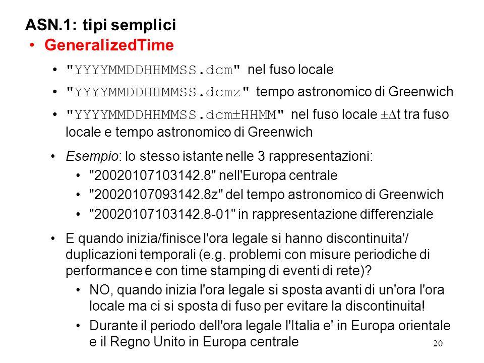 20 ASN.1: tipi semplici GeneralizedTime
