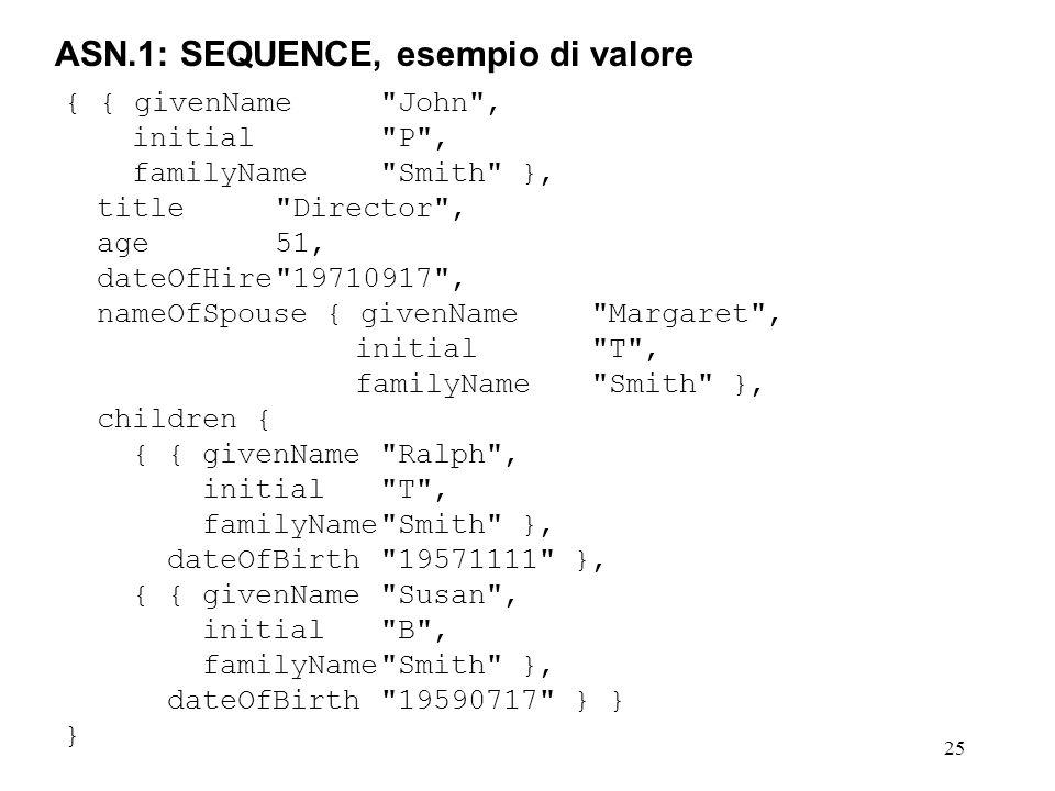 25 ASN.1: SEQUENCE, esempio di valore { { givenName