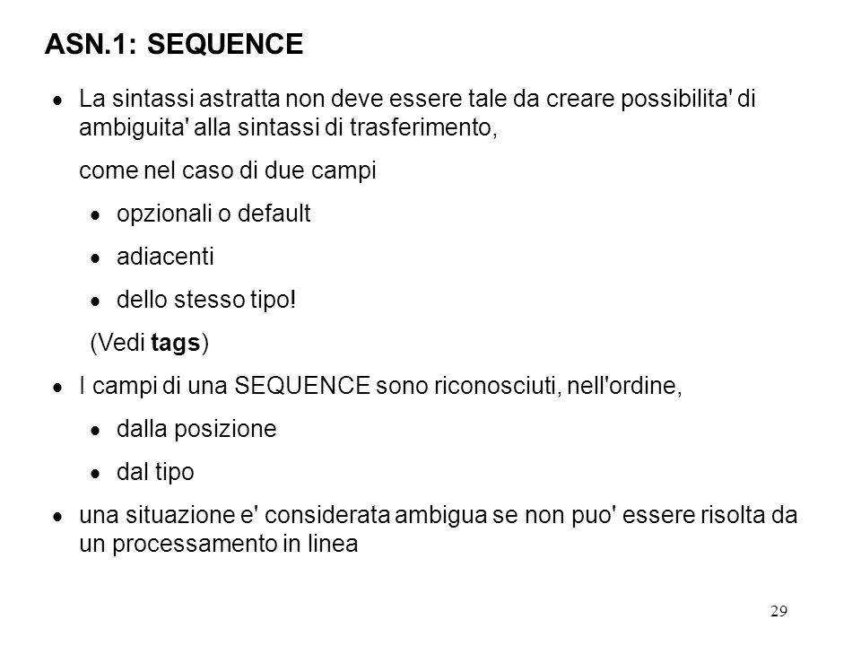 29 ASN.1: SEQUENCE La sintassi astratta non deve essere tale da creare possibilita' di ambiguita' alla sintassi di trasferimento, come nel caso di due