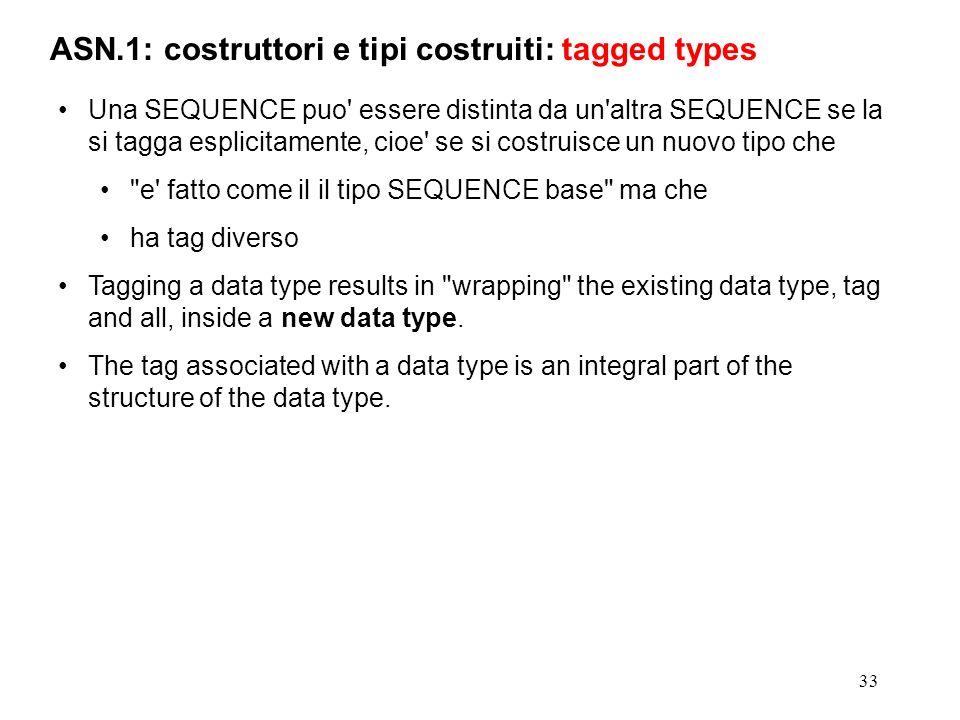 33 ASN.1: costruttori e tipi costruiti: tagged types Una SEQUENCE puo' essere distinta da un'altra SEQUENCE se la si tagga esplicitamente, cioe' se si