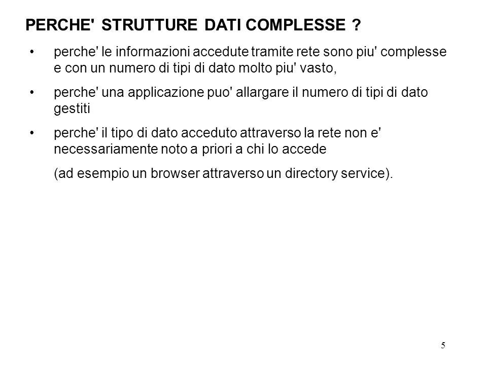 5 PERCHE' STRUTTURE DATI COMPLESSE ? perche' le informazioni accedute tramite rete sono piu' complesse e con un numero di tipi di dato molto piu' vast