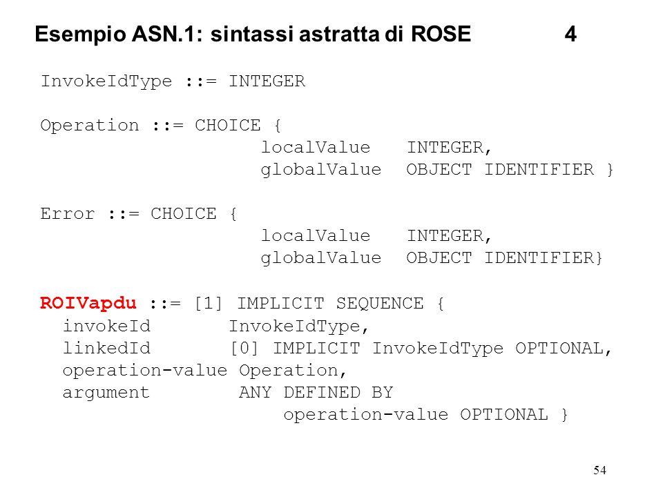 54 Esempio ASN.1: sintassi astratta di ROSE4 InvokeIdType ::= INTEGER Operation ::= CHOICE { localValueINTEGER, globalValueOBJECT IDENTIFIER } Error :