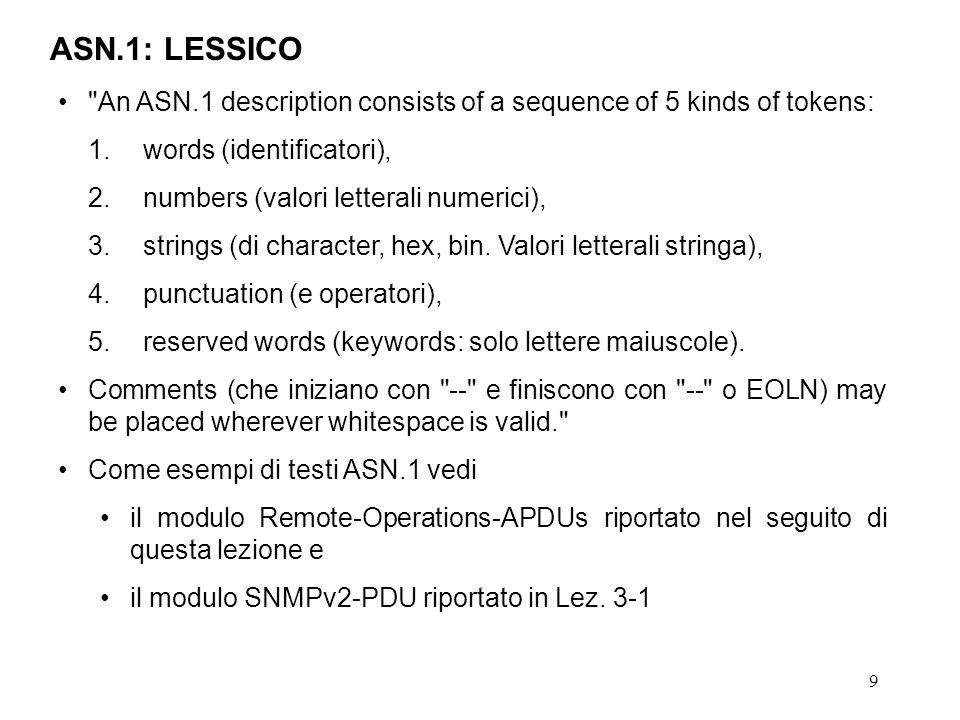 9 ASN.1: LESSICO