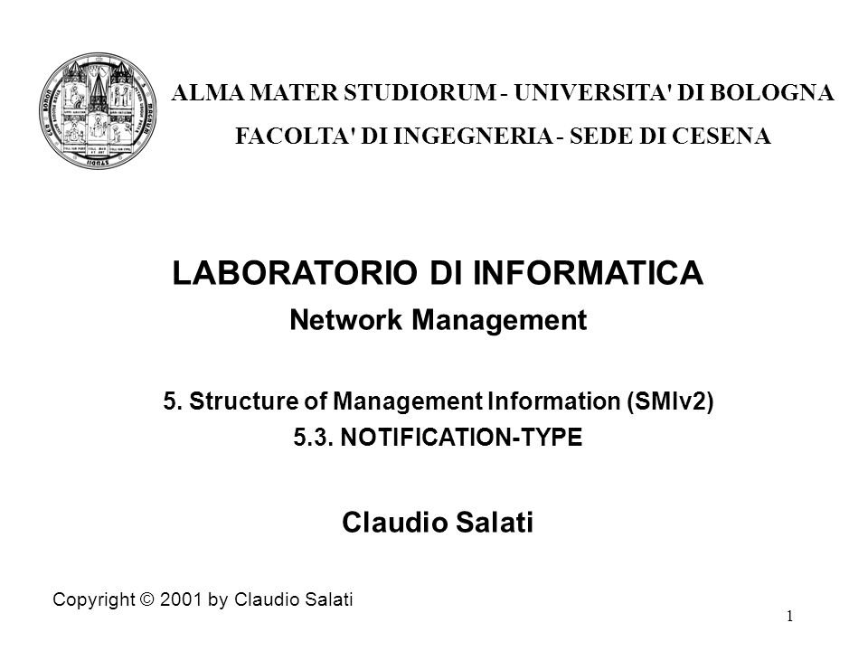 1 LABORATORIO DI INFORMATICA Network Management 5.