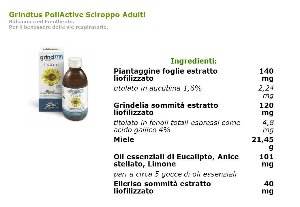 Grindtus PoliActive Sciroppo Adulti Balsamico ed Emolliente. Per il benessere delle vie respiratorie. Ingredienti: Piantaggine foglie estratto liofili
