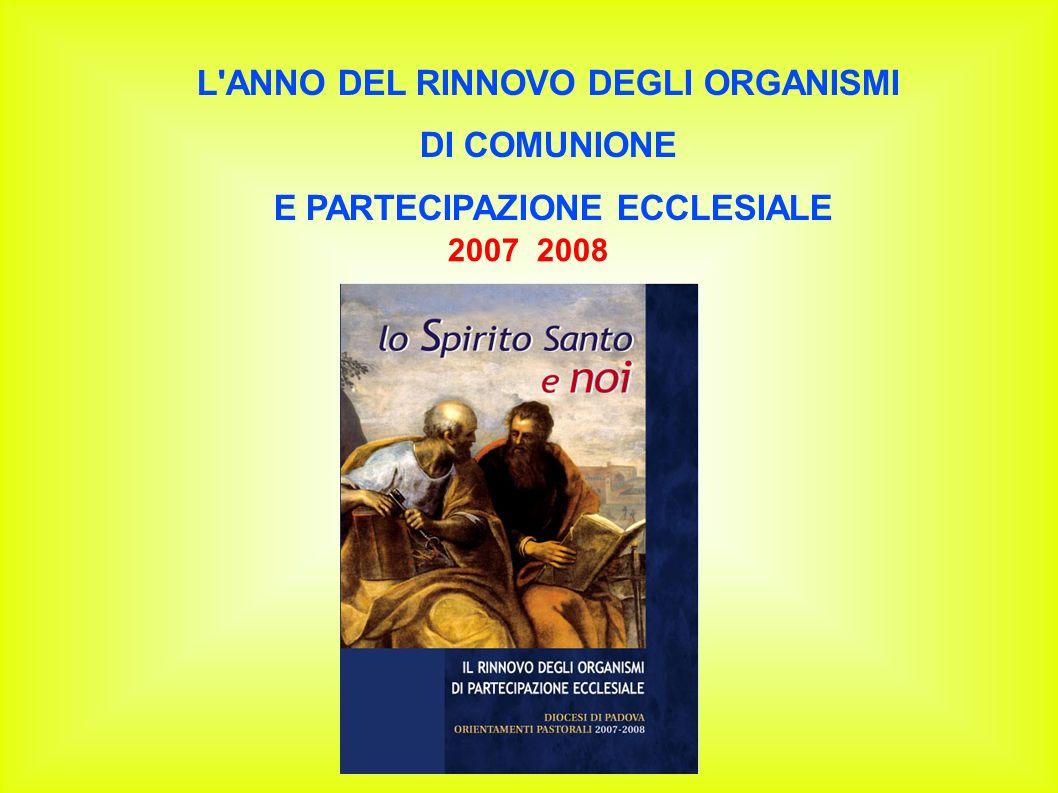 L'ANNO DEL RINNOVO DEGLI ORGANISMI DI COMUNIONE E PARTECIPAZIONE ECCLESIALE 2007 2008