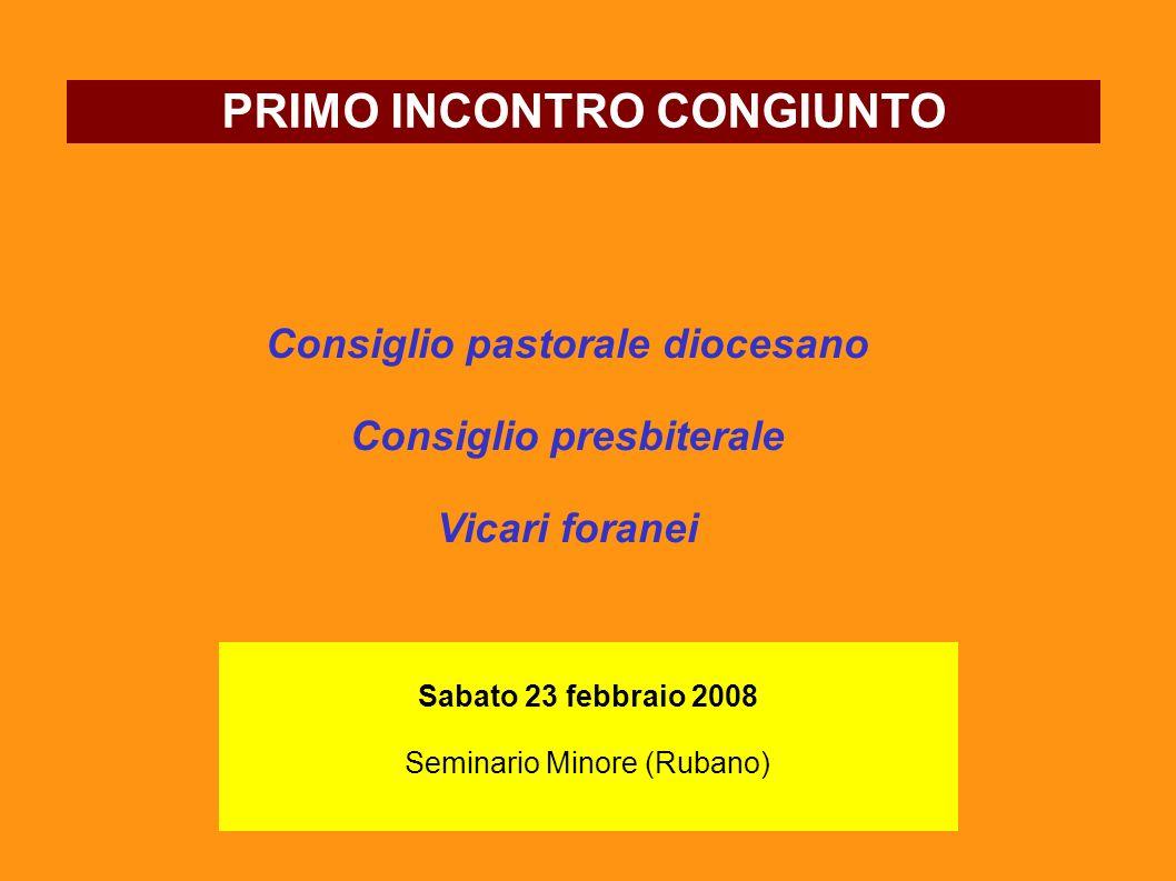 Consiglio pastorale diocesano Consiglio presbiterale Vicari foranei PRIMO INCONTRO CONGIUNTO Sabato 23 febbraio 2008 Seminario Minore (Rubano)