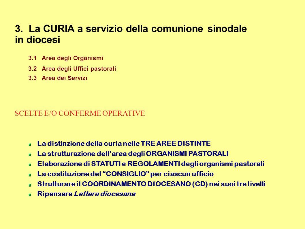 3. La CURIA a servizio della comunione sinodale in diocesi 3.1Area degli Organismi 3.2Area degli Uffici pastorali 3.3Area dei Servizi SCELTE E/O CONFE