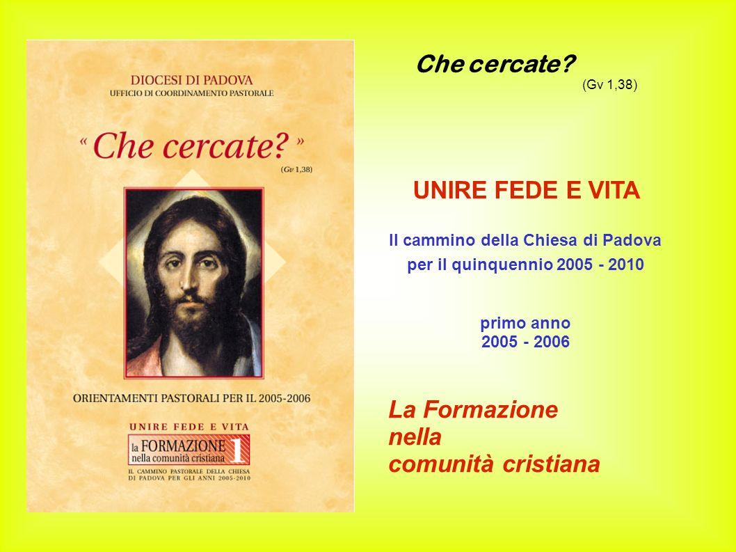 Che cercate? (Gv 1,38) UNIRE FEDE E VITA Il cammino della Chiesa di Padova per il quinquennio 2005 - 2010 primo anno 2005 - 2006 La Formazione nella c