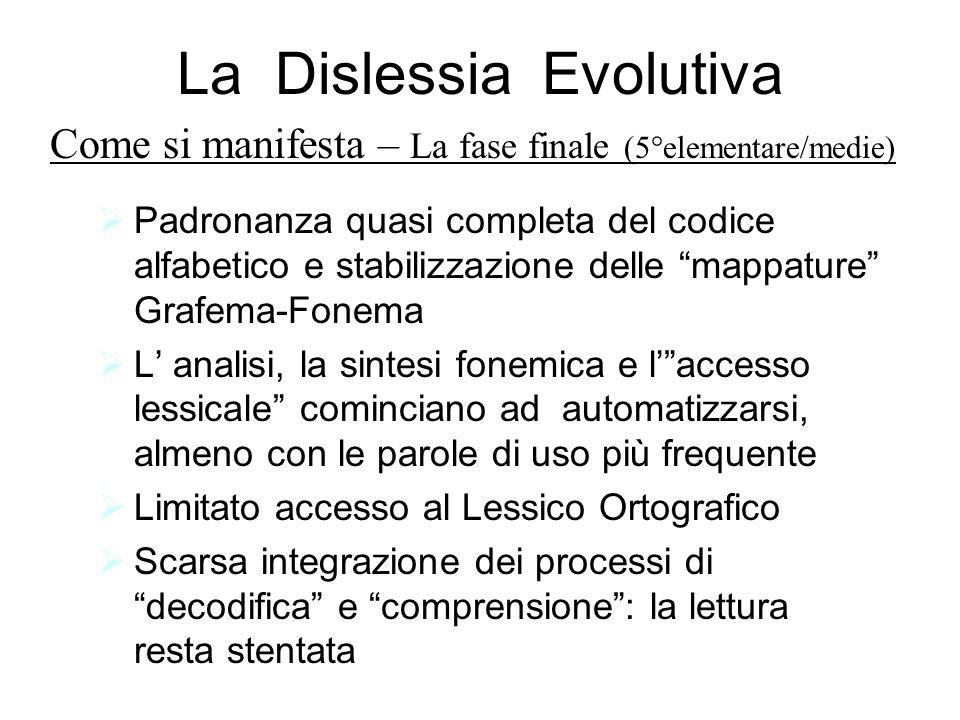 La Dislessia Evolutiva Padronanza quasi completa del codice alfabetico e stabilizzazione delle mappature Grafema-Fonema L analisi, la sintesi fonemica