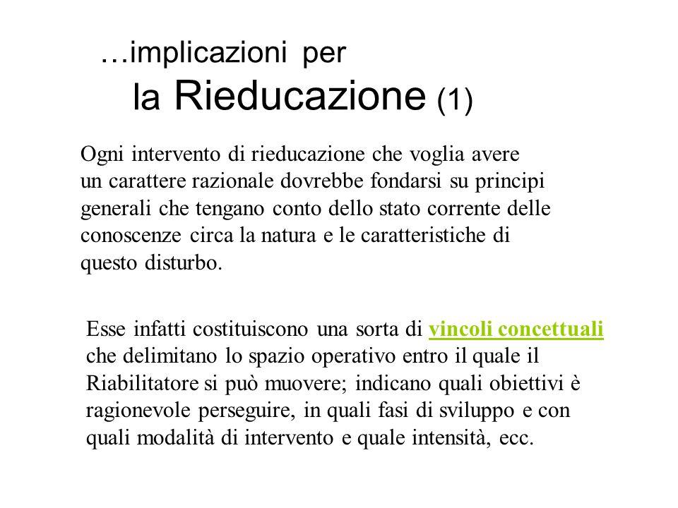 …implicazioni per la Rieducazione (1) Ogni intervento di rieducazione che voglia avere un carattere razionale dovrebbe fondarsi su principi generali c