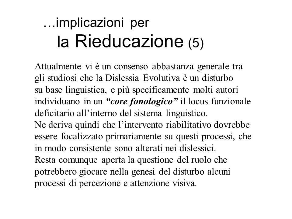 …implicazioni per la Rieducazione (5) Attualmente vi è un consenso abbastanza generale tra gli studiosi che la Dislessia Evolutiva è un disturbo su ba