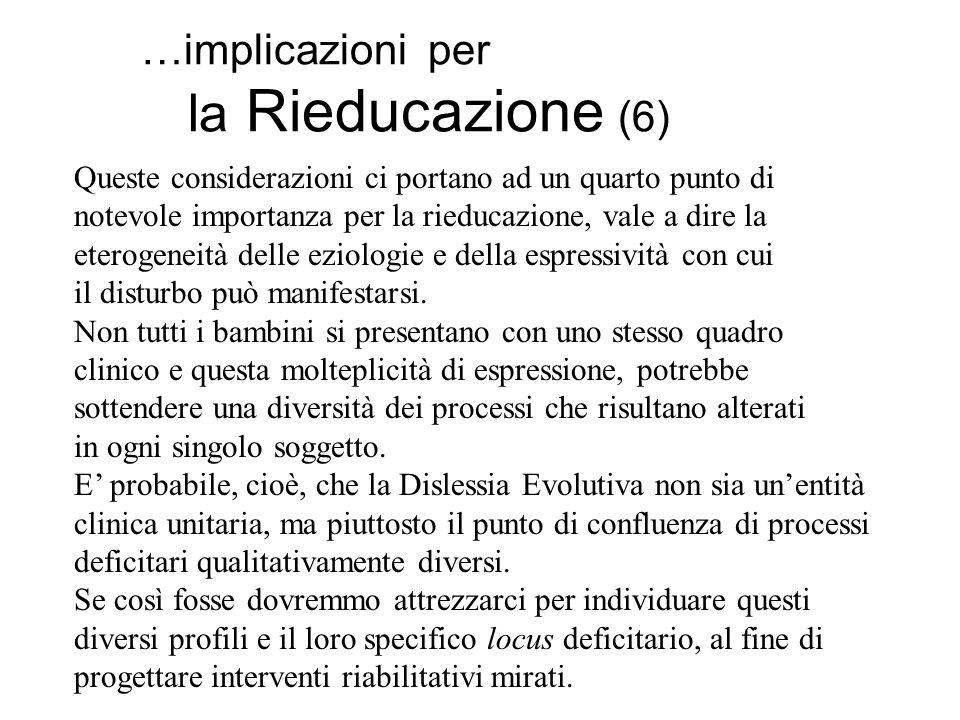…implicazioni per la Rieducazione (6) Queste considerazioni ci portano ad un quarto punto di notevole importanza per la rieducazione, vale a dire la e