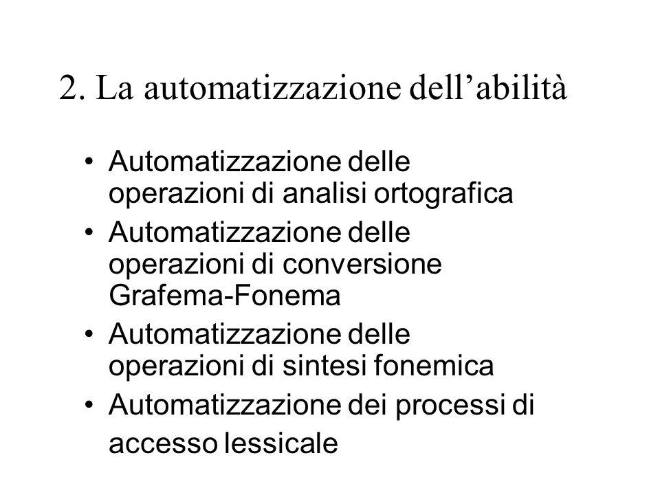 2. La automatizzazione dellabilità Automatizzazione delle operazioni di analisi ortografica Automatizzazione delle operazioni di conversione Grafema-F