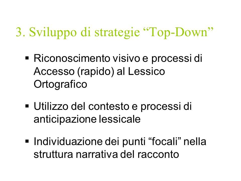 3. Sviluppo di strategie Top-Down Riconoscimento visivo e processi di Accesso (rapido) al Lessico Ortografico Utilizzo del contesto e processi di anti