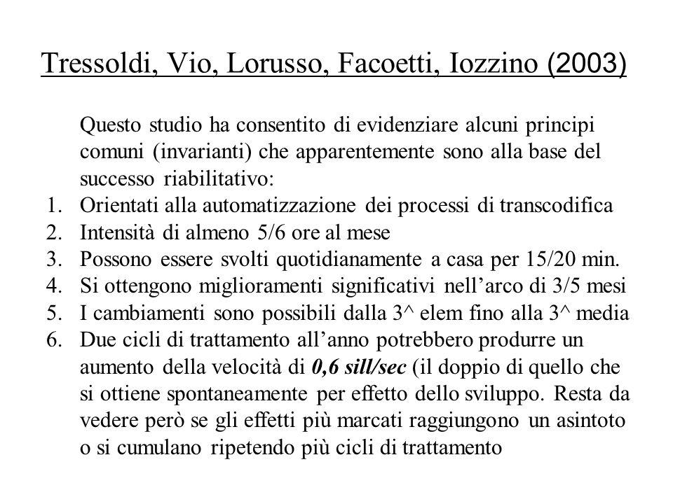 Tressoldi, Vio, Lorusso, Facoetti, Iozzino (2003) Questo studio ha consentito di evidenziare alcuni principi comuni (invarianti) che apparentemente so