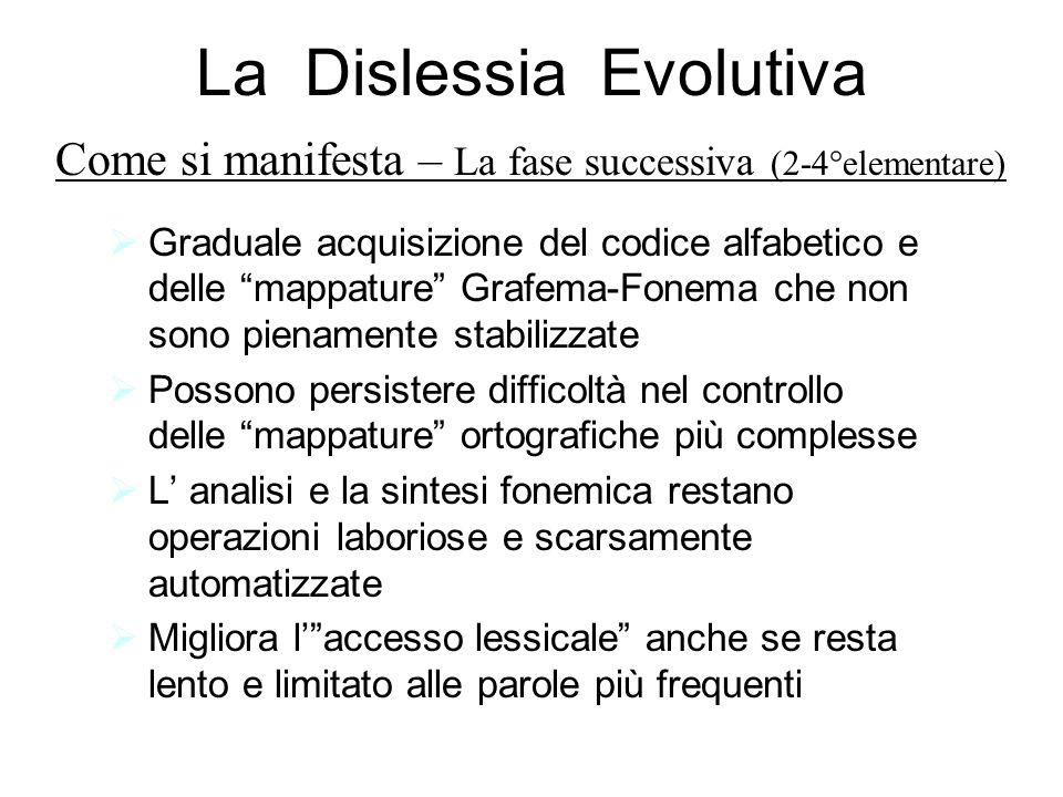 La Dislessia Evolutiva Graduale acquisizione del codice alfabetico e delle mappature Grafema-Fonema che non sono pienamente stabilizzate Possono persi