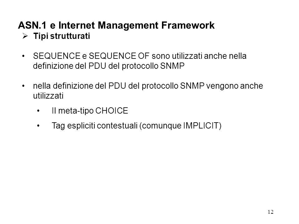 12 ASN.1 e Internet Management Framework Tipi strutturati SEQUENCE e SEQUENCE OF sono utilizzati anche nella definizione del PDU del protocollo SNMP n