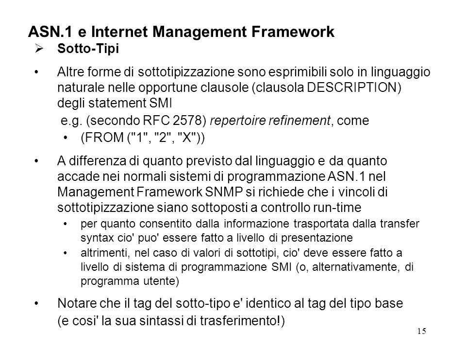 15 ASN.1 e Internet Management Framework Sotto-Tipi Altre forme di sottotipizzazione sono esprimibili solo in linguaggio naturale nelle opportune clau