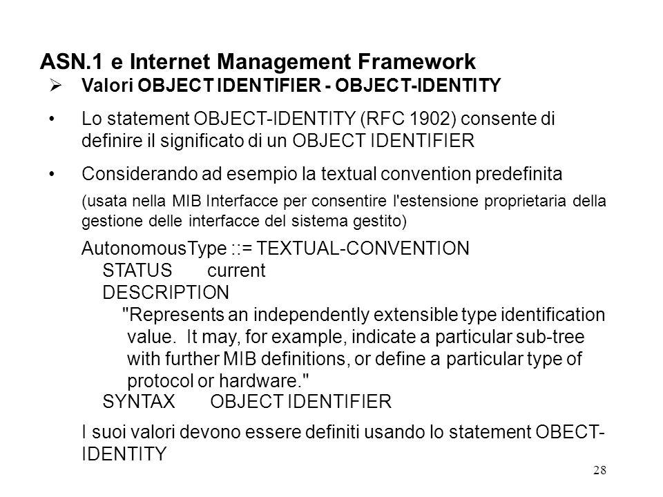 28 ASN.1 e Internet Management Framework Valori OBJECT IDENTIFIER - OBJECT-IDENTITY Lo statement OBJECT-IDENTITY (RFC 1902) consente di definire il si
