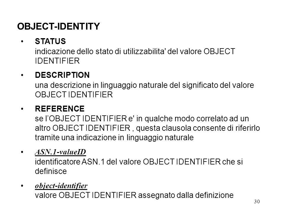 30 OBJECT-IDENTITY STATUS indicazione dello stato di utilizzabilita' del valore OBJECT IDENTIFIER DESCRIPTION una descrizione in linguaggio naturale d