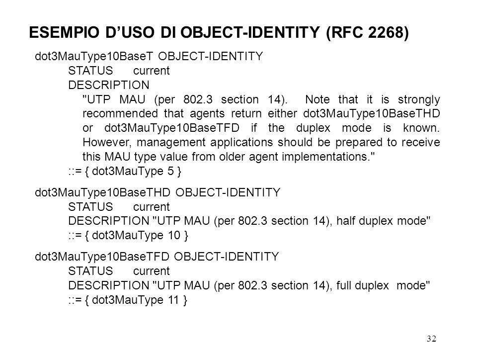 32 ESEMPIO DUSO DI OBJECT-IDENTITY (RFC 2268) dot3MauType10BaseT OBJECT-IDENTITY STATUS current DESCRIPTION