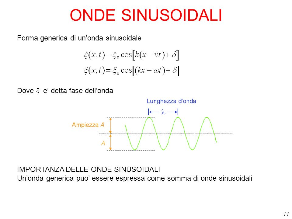 11 ONDE SINUSOIDALI Forma generica di unonda sinusoidale Dove e detta fase dellonda IMPORTANZA DELLE ONDE SINUSOIDALI Unonda generica puo essere espre