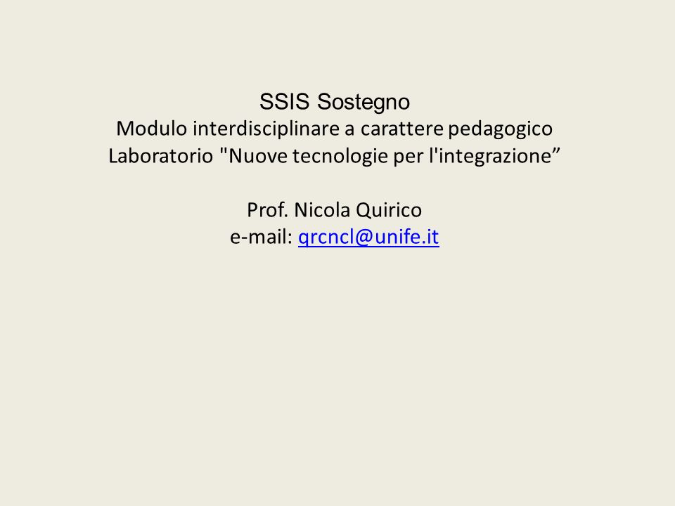 SSIS Sostegno Modulo interdisciplinare a carattere pedagogico Laboratorio