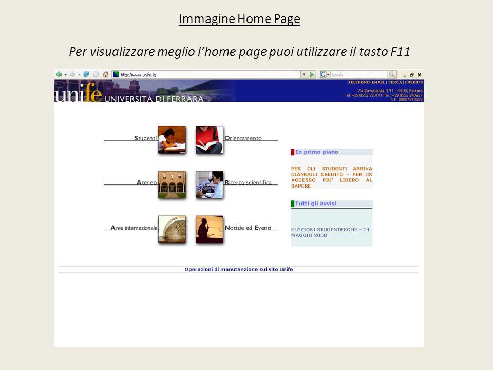 Immagine Home Page Per visualizzare meglio lhome page puoi utilizzare il tasto F11