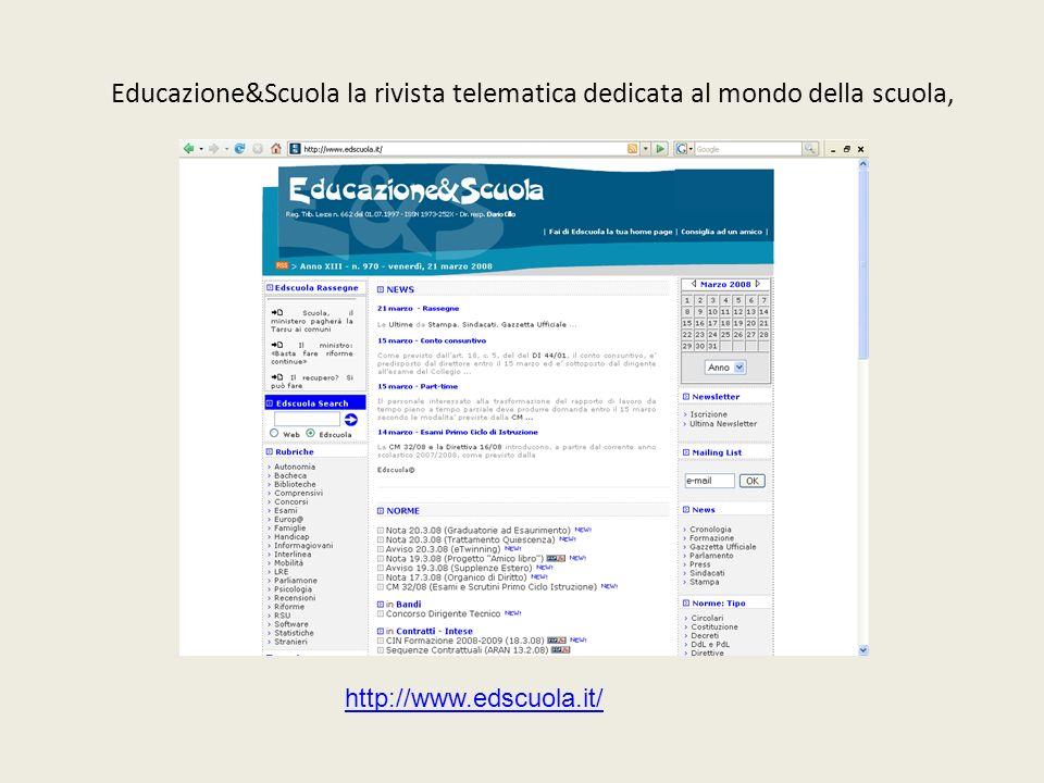 Educazione&Scuola la rivista telematica dedicata al mondo della scuola, http://www.edscuola.it/
