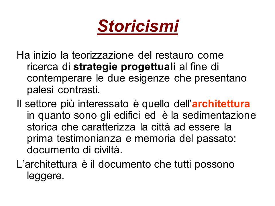 Storicismi Ha inizio la teorizzazione del restauro come ricerca di strategie progettuali al fine di contemperare le due esigenze che presentano palesi