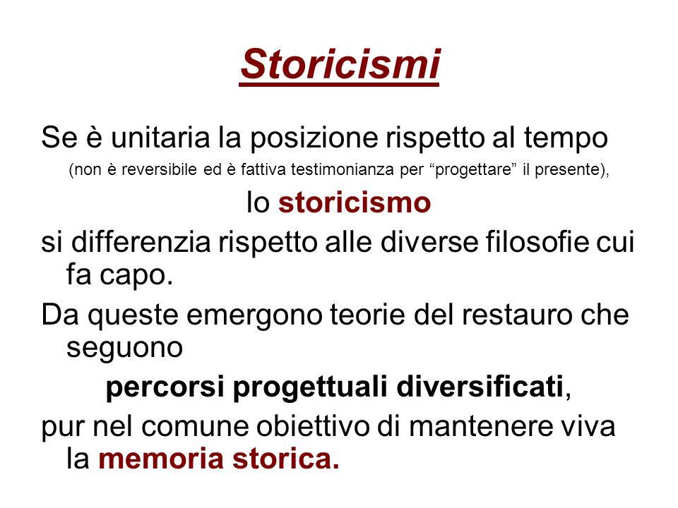 Storicismi Se è unitaria la posizione rispetto al tempo (non è reversibile ed è fattiva testimonianza per progettare il presente), lo storicismo si di