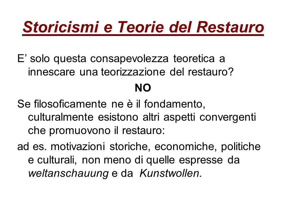 Storicismi e Teorie del Restauro E solo questa consapevolezza teoretica a innescare una teorizzazione del restauro? NO Se filosoficamente ne è il fond