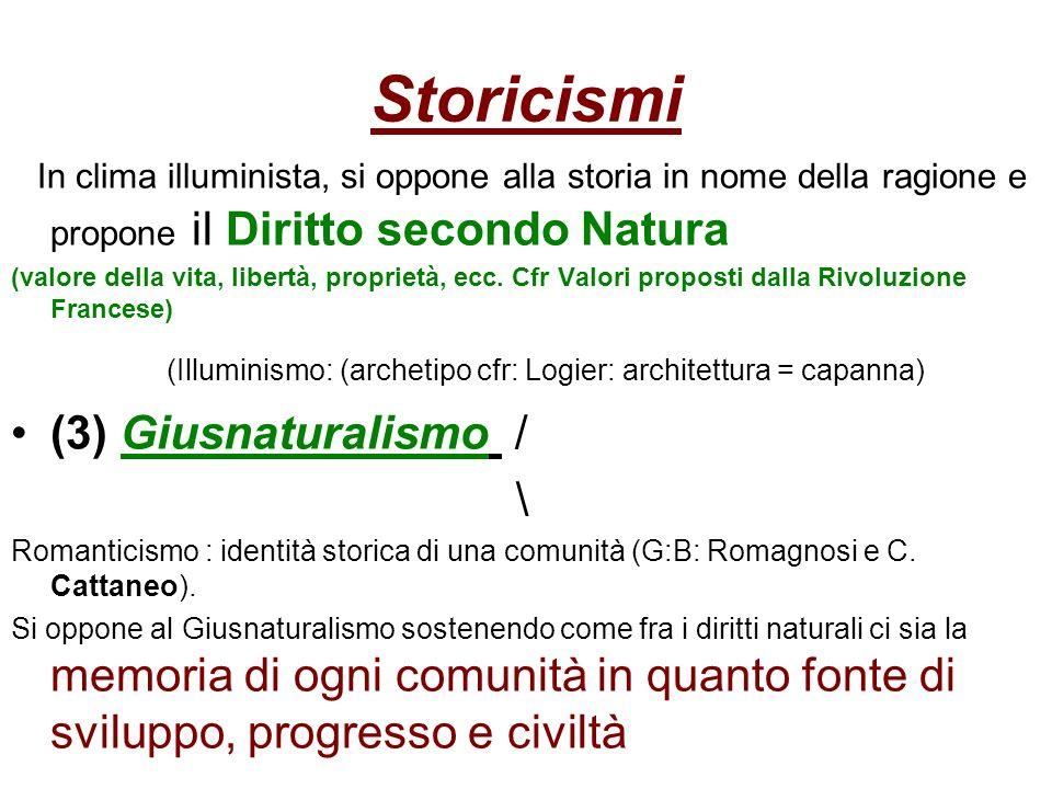 Storicismi In clima illuminista, si oppone alla storia in nome della ragione e propone il Diritto secondo Natura (valore della vita, libertà, propriet