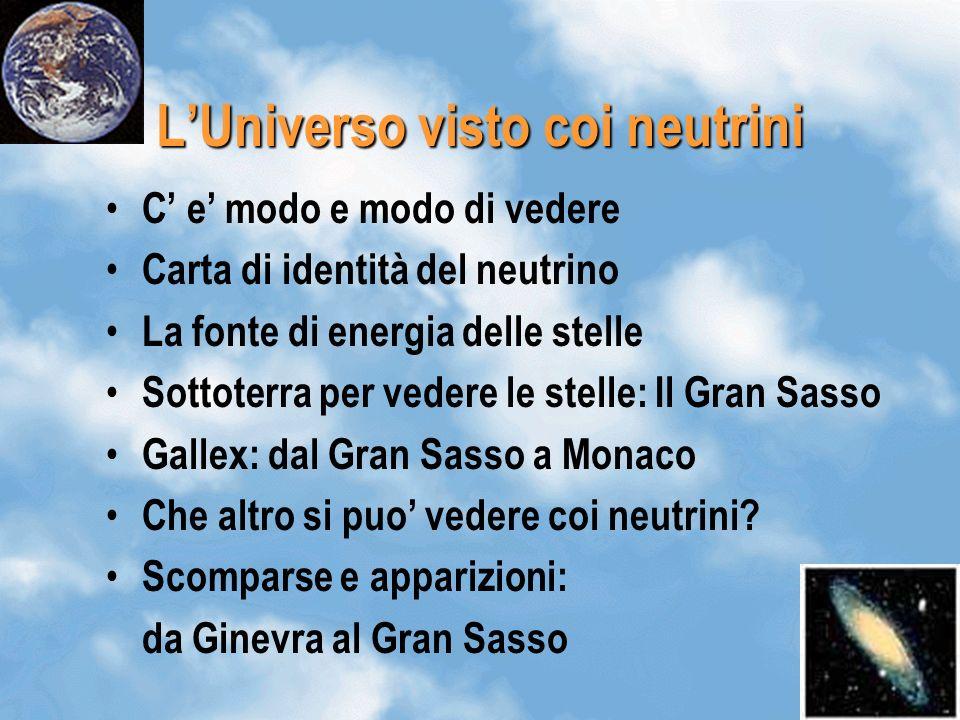 1 LUniverso visto coi neutrini C e modo e modo di vedere Carta di identità del neutrino La fonte di energia delle stelle Sottoterra per vedere le stelle: Il Gran Sasso Gallex: dal Gran Sasso a Monaco Che altro si puo vedere coi neutrini.