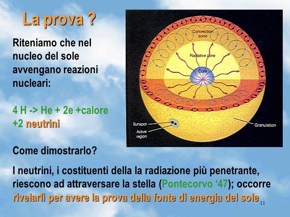 11 La prova ? rivelarli per avere la prova della fonte di energia del sole I neutrini, i costituenti della la radiazione più penetrante, riescono ad a