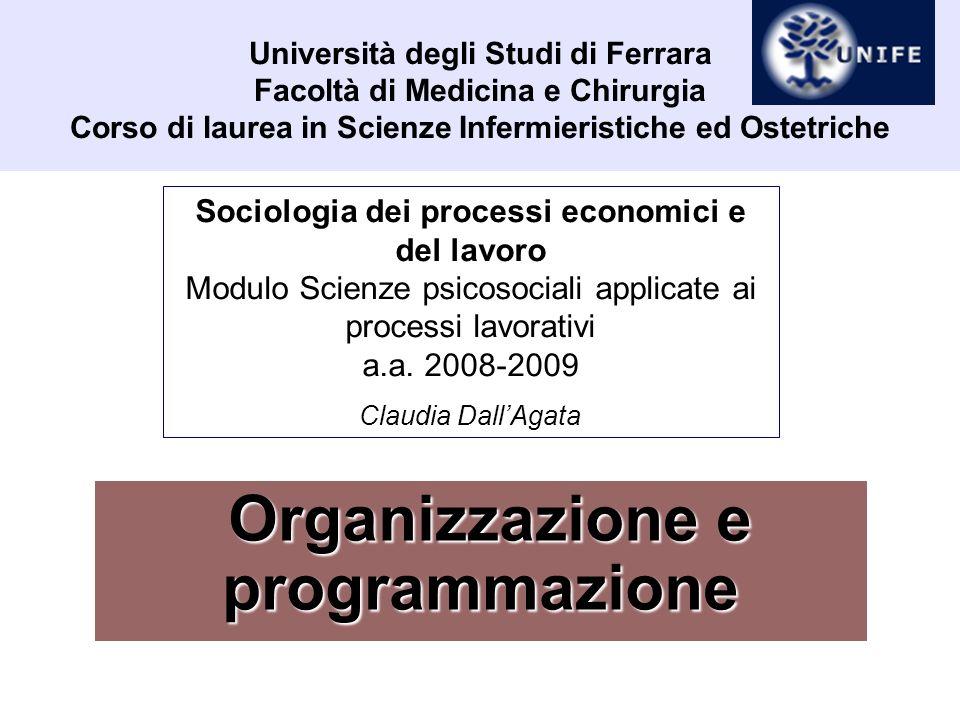 Organizzazione e programmazione Sociologia dei servizi Elementi di organizzazione e programmazione Due parti 1.Organizzazione e programmazione: la prospettiva sociologica (cap.