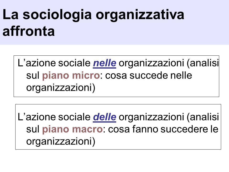 Lazione sociale nelle organizzazioni (analisi sul piano micro: cosa succede nelle organizzazioni) Lazione sociale delle organizzazioni (analisi sul pi