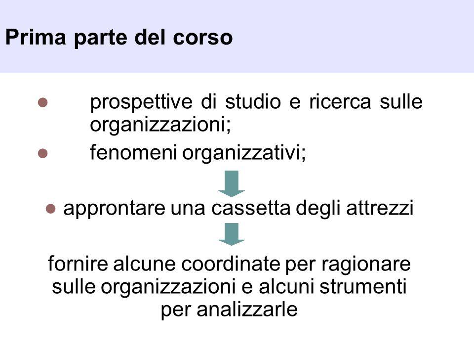 Prima parte del corso prospettive di studio e ricerca sulle organizzazioni; fenomeni organizzativi; approntare una cassetta degli attrezzi fornire alc