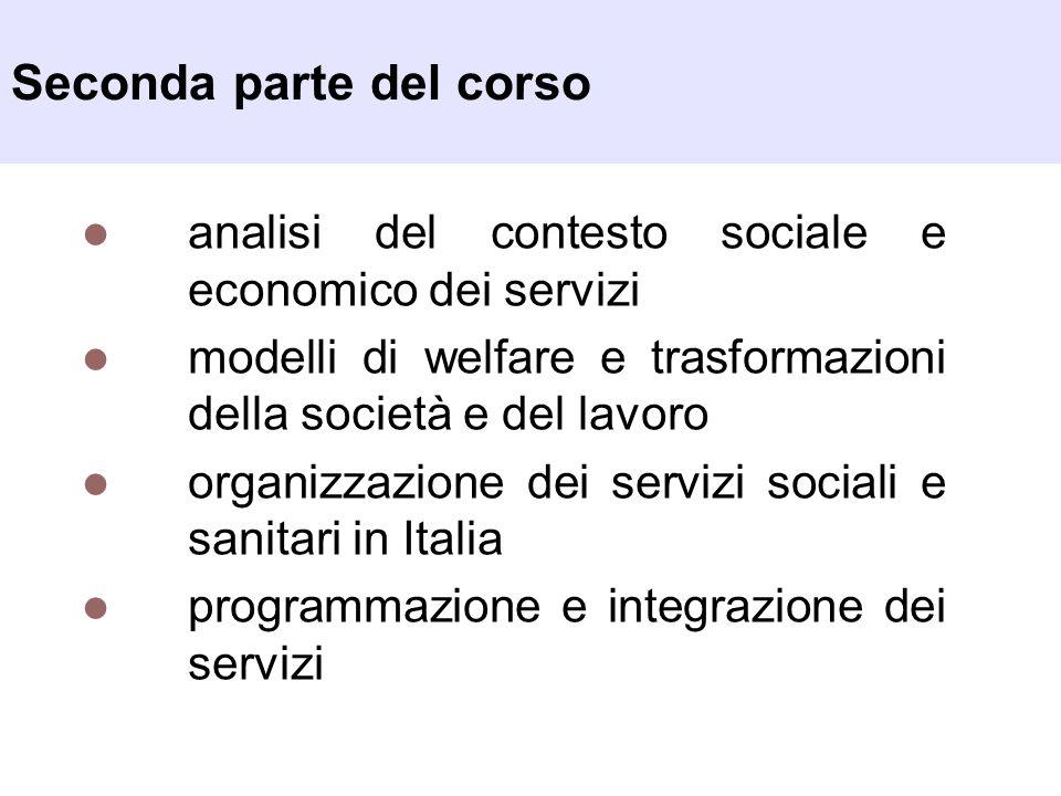 Seconda parte del corso analisi del contesto sociale e economico dei servizi modelli di welfare e trasformazioni della società e del lavoro organizzaz
