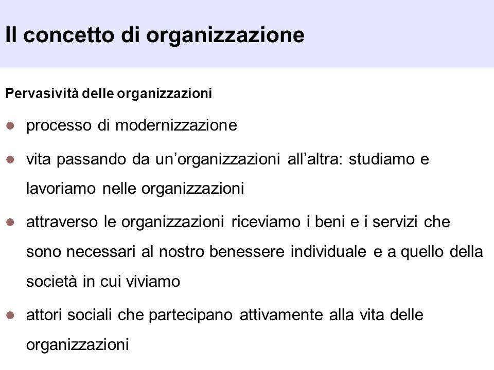 Il concetto di organizzazione Pervasività delle organizzazioni processo di modernizzazione vita passando da unorganizzazioni allaltra: studiamo e lavo