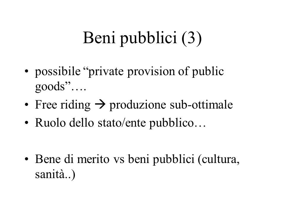 Beni pubblici (3) possibile private provision of public goods….