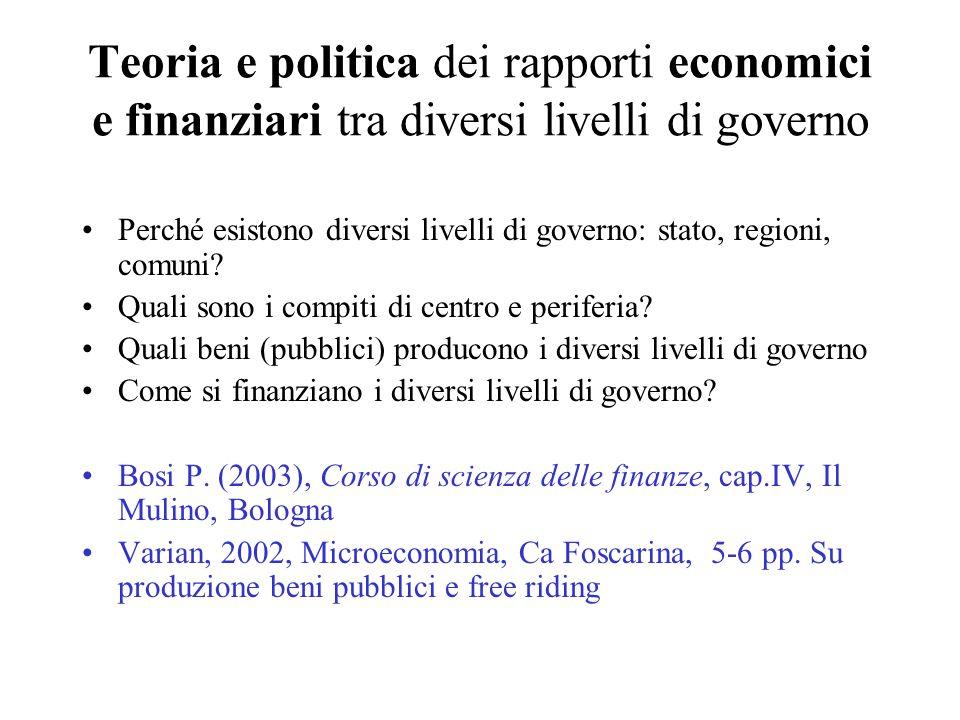 Teoria e politica dei rapporti economici e finanziari tra diversi livelli di governo Perché esistono diversi livelli di governo: stato, regioni, comuni.