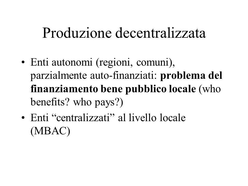 Produzione decentralizzata Enti autonomi (regioni, comuni), parzialmente auto-finanziati: problema del finanziamento bene pubblico locale (who benefits.