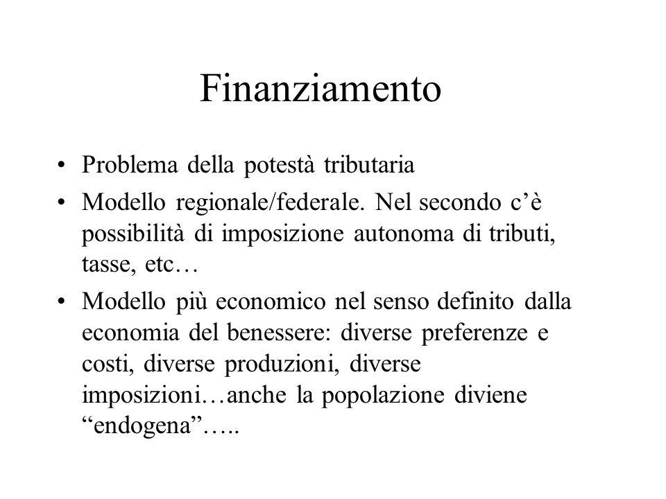 Finanziamento Problema della potestà tributaria Modello regionale/federale.